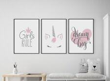 Set of 3 Girls Rule Unicorn Dream Big Pink Prints Nursery Kids Room Wall Art