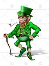 PAINTING CGI ILLUSTRATION LEPRECHAUN IRISH MYTHOLOGY GREEN POSTER PRINT BMP11164
