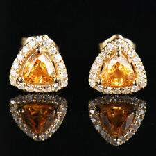 Solid 14K Yellow Gold Trillion Natural Yellow Sapphire Diamond Stud Earrings