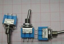 10Pcs Ac 125V 6A Spdt Toggle Switch 3 Pin On/On 2 Position Miniature Blue New Q