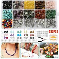 933PCS Chips Stone Beads Natural Gemstone Beads DIY Jewelry Necklace Making Kit