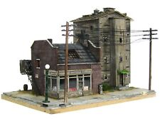 HO Scale Custom Built Weathered Downtown City Block Scratch Building Diorama
