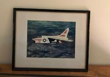 A 7A Corsair II Aircraft Photograph Framed and Matted Under Glass Vintage VG