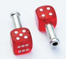 Trik Topz DICE bicycle brake cable end tips crimps (PAIR) CLEAR RED w/ WHITE