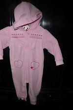 18 m Child of Mine Carter's pink fleece romper hood hearts VGUC