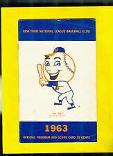 1963 New York Mets Program/Scorecard Stengel, Snider, Shea Stadium Unscored