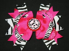 "NEW ""ZEBRA PEACE"" Bottlecap Hairbow Alligator Clips Girls Ribbon Bows 5 Inch"