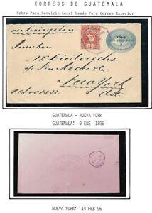 Guatemala: 1896; Postal Stationery used to New York, XF, EBG084