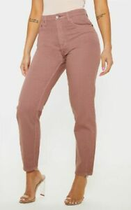 Prettylittlething Petite Dusty Pink Denim Mom Jeans UK Size 6 VR233