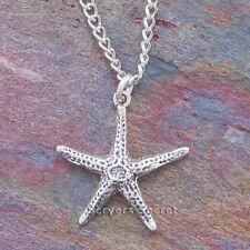 .925 sterling silver STARFISH Sea STAR Charm Nautical Beach Pendant Necklace