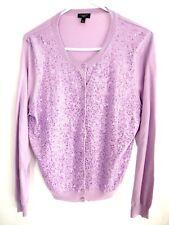 577de882d44 Talbots Womens Cardigan Sweater XLP Silk Lavender Purple Sequin Buttons  Crewneck