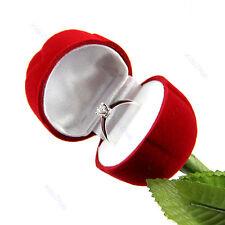 Red Rose Engagement Wedding Ring Earrings Keepsake Pendants Jewelry Gift Box Y