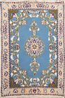 LIGHT BLUE Geometric Nain Hand-knotted Area Rug Traditional Oriental 2x2 Square