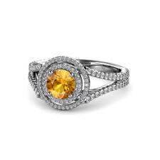Round Citrine Diamond Double Women Halo Engagement Ring 14K Gold JP:56729