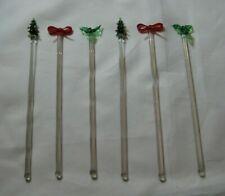 Lot of 6 (Six)  Glass Cocktail Swizzle Sticks/Stirrers..Christmas Theme