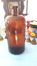 One gallon brown glass laboratory applied flared neck bottle cork top