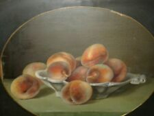 Vintage Very Old Antique Oil Painting Original Still Life Peaches