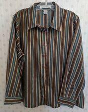 NWOT Roaman's 2X Shirt Blouse Top Striped Button Up Long Sleeve Career Casual A2
