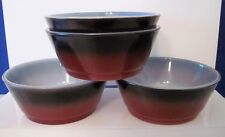 Lot of 4 Vintage Fire King Brown Black Ombre Cereal Soup Bowls