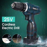 25V Li-Ion Battery LED Cordless Electric Drill Driver Screwdriver Hammer 2 Speed