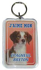 """Porte clé chien """"J'aime mon Épagneul Breton""""  idée cadeau pas cher NEUF"""