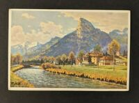Mint Vintage 1930 Oberammergau Germany Illustrated Postal Stationary Postcard