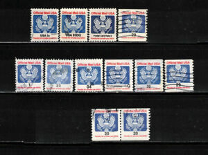 US 1983-1995: #O127/O153 - 10 Used Official Stamps + 1 Coil Pr: Lot#2/23