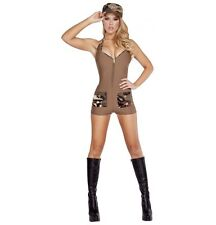 Adult Woman Costume Sexy Army Soldier Bodysuit Beige Size Medium Large 2 Pc Set
