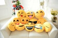"Emoji Emoticon Yellow Round Cushion Stuffed Soft 12"" Pillow Plush Xmas Gift UK"