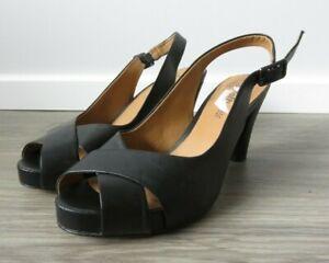 CLARKS SOFTWEAR WOMEN'S SELENA JEMMA BLACK LEATHER SLINGBACK SHOES SANDALS 6.5 D