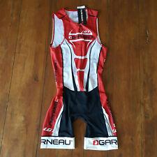 Louis Garneau Mens M, Womens XL Triathlon Suit Red White Trisuit Skinsuit Medium