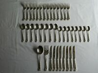 READ  40pc LOT WM ROGERS AND SONS Silver Plate Flatware Enchanted Rose Silver