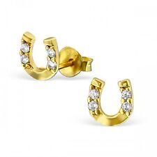 Plata de ley 925 Cubic Zirconia Aretes Oro Zapato De Caballo