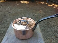 "Dehillerin 3.1mm French 5.75"" Mauviel Copper W/Tin Sauce Pan W/ Stainless Lid"
