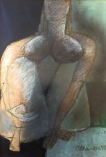 STEFAN ALEXANDER , Pastel on Paper, Semi Abstract Nude Woman Figure, Signed