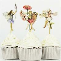 24 Pcs Fairy Girls Flowers Cupcake Muffin Toppers Baby Shower Birthday Party W