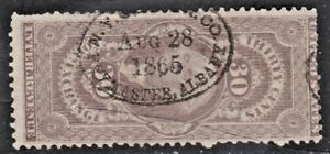 US Revenue (Scott R51c) 1862-71 First Issue FOREIGN EXCHANGE 30c lilac HC USED