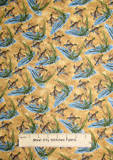 Riverwoods Nostalgic Hunt Debbie Field Duck Cattail Pond Motif Brown Fabric YARD