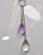 Amethyst & Green Amethyst  Briolette Necklace in 18K White Gold