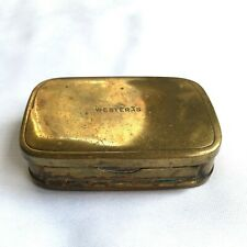 Vtg compact mirror brass rectangular double hinge small pill box case Westeras