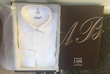 Antonio B 2000 Egyptian Cotton Italian Shirt White with Beige Squares  17 X 34