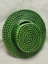 Vtg 1960s Wall Pocket Flower Pot Green Sombrero Straw Top Hat Planter Ceramic