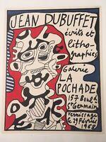 DUBUFFET Affiche lithographique SUR ARCHES galerie La Pochade 1968