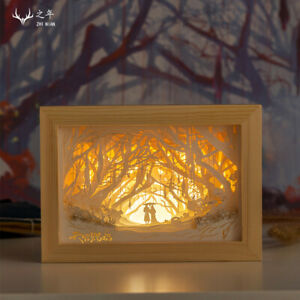 Tian Guan Ci Fu Xie Lian Hua Cheng Color Shadow 3D Paper Carved Led Night Lamp天官