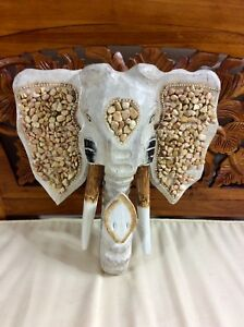 WOODEN ELEPHANT MASK 30CM - HAND CARVED AND HAND PAINTED