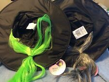**** 2  WITCH HATS WITH HAIR****  (GREEN & GRAY)