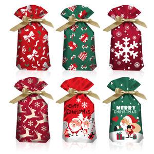 30Pcs Christmas Sacks Reusable Drawstring Wrap Present Gift Party Bags Storage