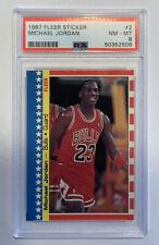 1987 Fleer Sticker Michael Jordan #2 PSA 8 NM-MT HOF GOAT Chicago Bulls