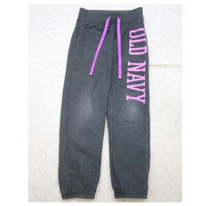 Sweats Old Navy Logo Pants Small 6-7 Gray Pink Cotton Polyester Drawstring C9