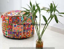 """22x14"""" Ottoman Patchwork Round Handmade Cotton Indian Pouf Cover Stool Ethnic"""